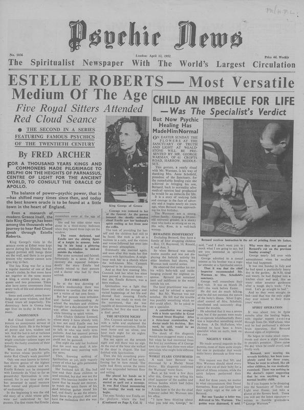 Estelle Roberts – Most Versatile Medium of the Age