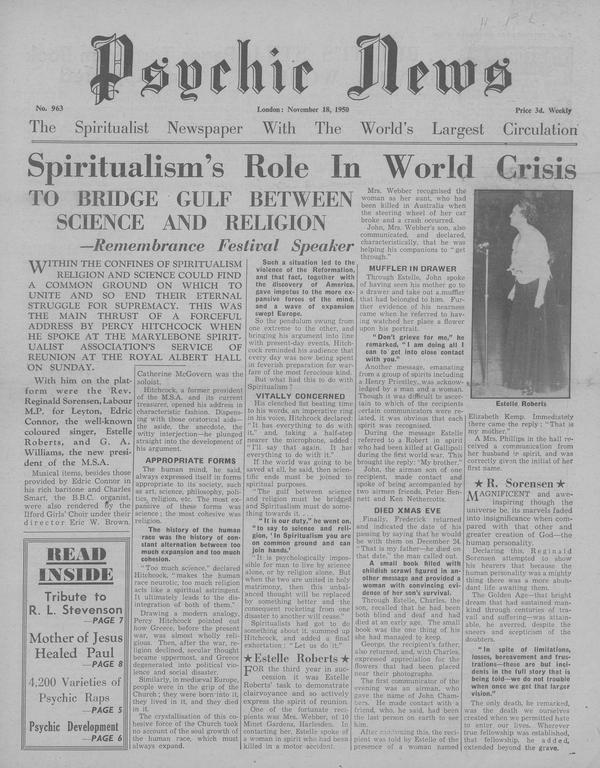 Spiritualism's Role In World Crisis